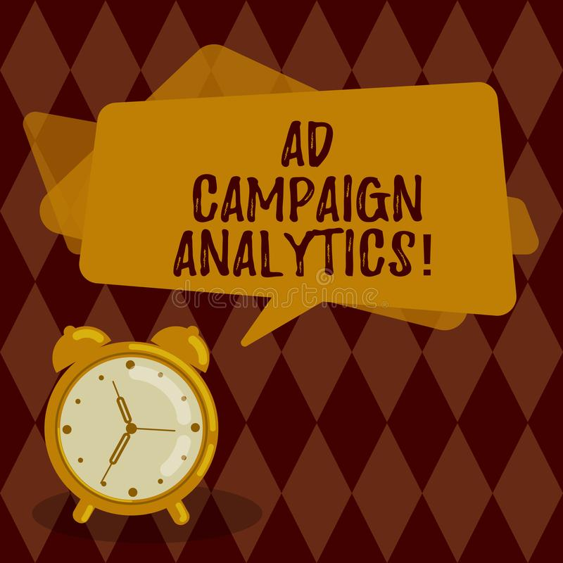 Conceptual hand writing showing Ad Campaign Analytics. Business photo showcasing monitor campaigns and their respective. Outcomes Rectangular Speech Bubble stock illustration