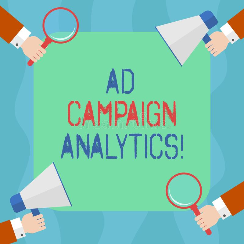 Conceptual hand writing showing Ad Campaign Analytics. Business photo text monitor campaigns and their respective. Outcomes Hu analysis Hands Holding Magnifying stock illustration