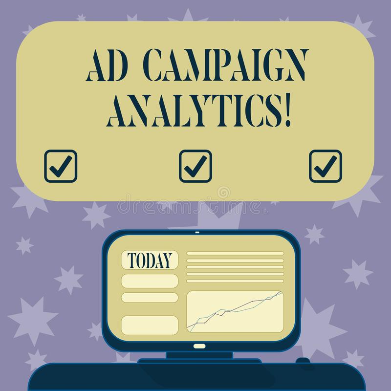 Conceptual hand writing showing Ad Campaign Analytics. Business photo text monitor campaigns and their respective. Outcomes Mounted Computer Screen with Line vector illustration