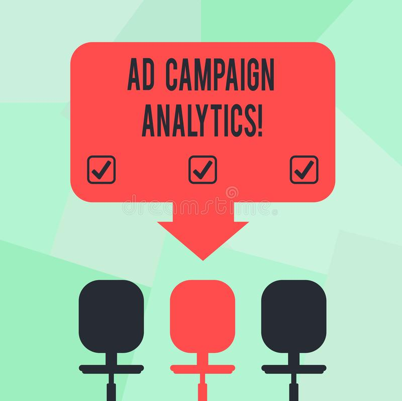 Conceptual hand writing showing Ad Campaign Analytics. Business photo text monitor campaigns and their respective. Outcomes Space Color Arrow Pointing to One of royalty free illustration