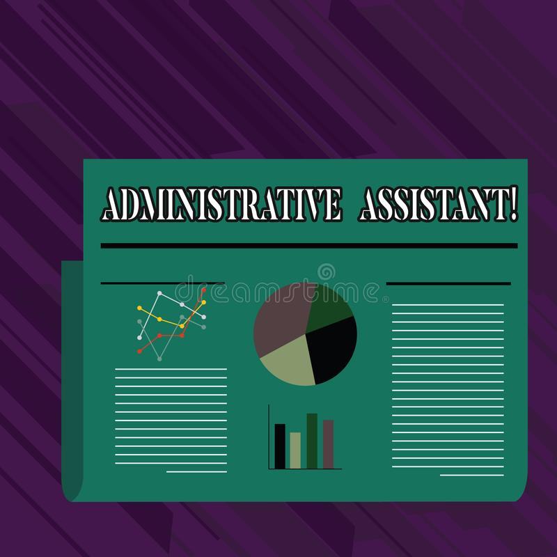 Conceptual hand writing showing Administrative Assistant. Business photo showcasing demonstrating employed in office. Conceptual hand writing showing vector illustration
