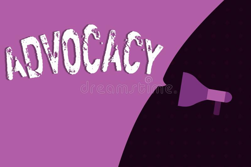 Conceptual hand writing showing Advocacy. Business photo showcasing Profession of legal advocate Lawyer work Public. Recommendation vector illustration