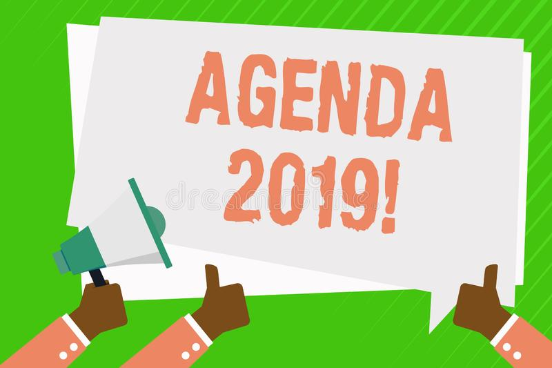 Conceptual hand writing showing Agenda 2019. Business photo showcasing list of items to be discussed at formal meeting. Conceptual hand writing showing Agenda vector illustration