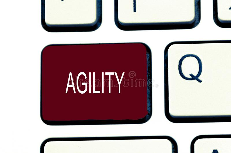 Conceptual hand writing showing Agility. Business photo showcasing Ability to move think understand quickly and easily Fast develo. Pment stock photography