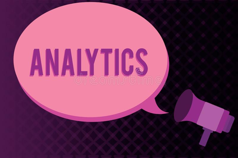 Conceptual hand writing showing Analytics. Business photo showcasing systematic computational analysis of data statistics or infos. Megaphone coming out of on royalty free illustration