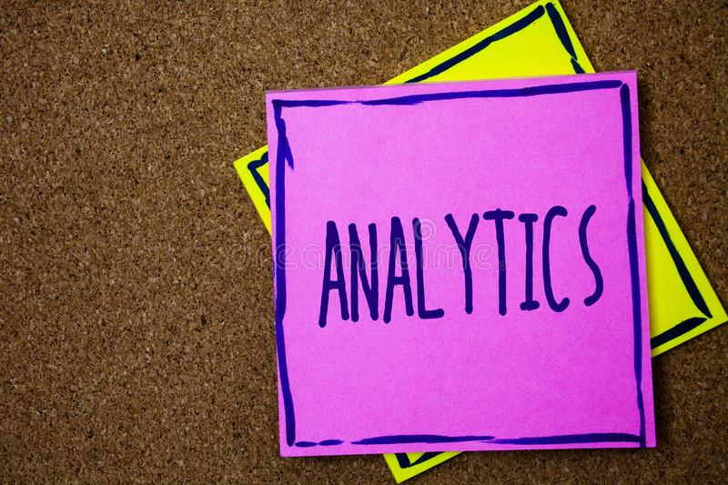 Conceptual hand writing showing Analytics. Business photo text Data Analysis Financial Information Statistics Report Dashboard Wic. Ker background message royalty free stock photos