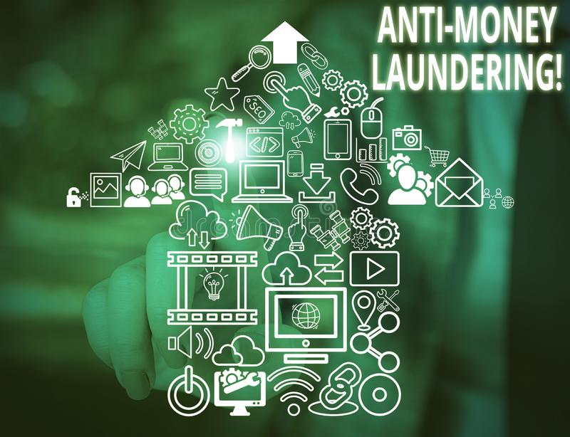 Conceptual hand writing showing Anti Money Laundering. Business photo text regulations stop generating income through. Conceptual hand writing showing Anti Money royalty free stock images