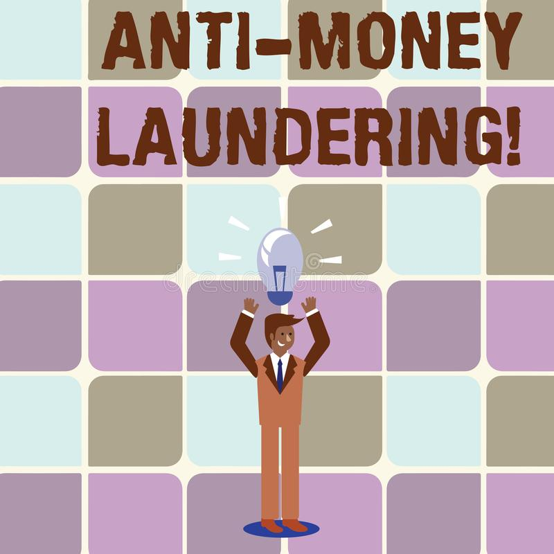 Conceptual hand writing showing Anti Money Laundering. Business photo text regulations stop generating income through. Conceptual hand writing showing Anti Money vector illustration