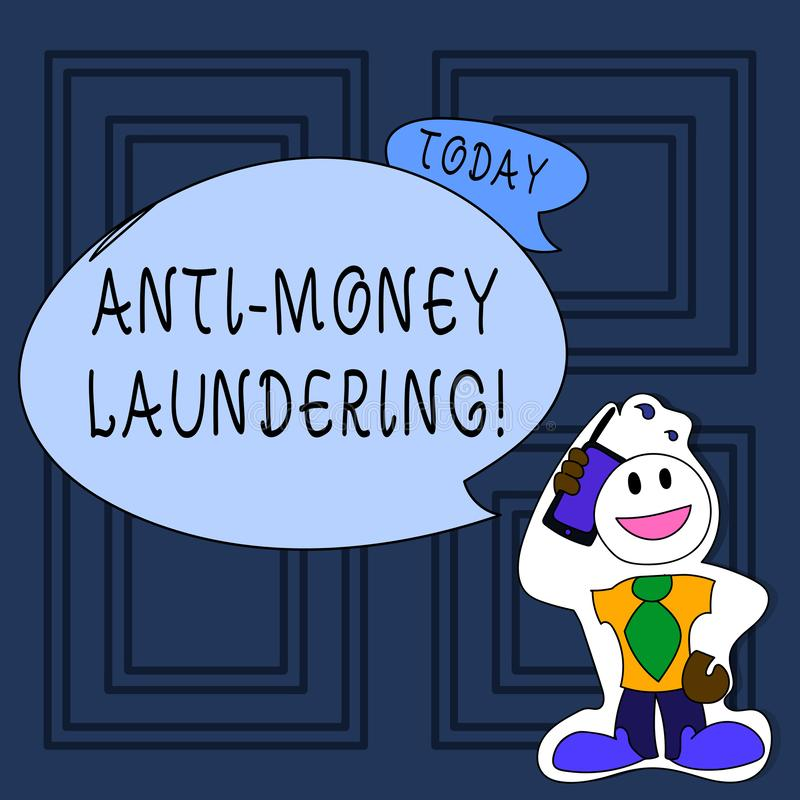 Conceptual hand writing showing Anti Money Laundering. Business photo text regulations stop generating income through. Conceptual hand writing showing Anti Money stock illustration