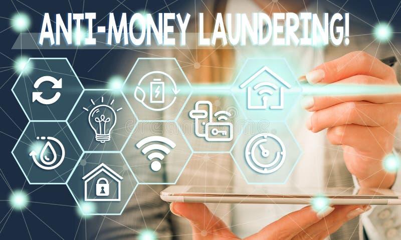 Conceptual hand writing showing Anti Money Laundering. Business photo showcasing regulations stop generating income. Conceptual hand writing showing Anti Money stock image