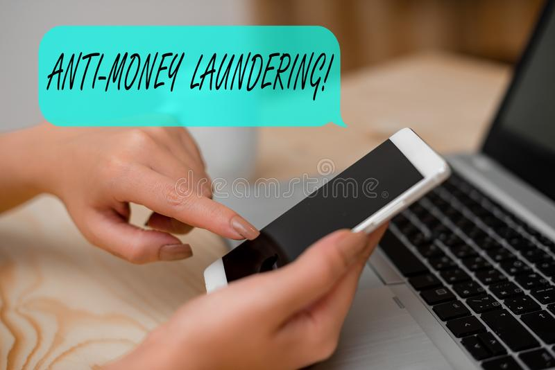 Conceptual hand writing showing Anti Money Laundering. Business photo text regulations stop generating income through. Conceptual hand writing showing Anti Money royalty free stock photo