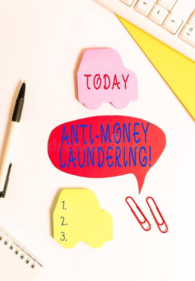 Conceptual hand writing showing Anti Money Laundering. Business photo showcasing regulations stop generating income. Conceptual hand writing showing Anti Money stock images