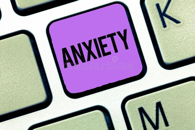 Conceptual hand writing showing Anxiety. Business photo showcasing Excessive uneasiness and apprehension Panic attack. Syndrome royalty free stock image