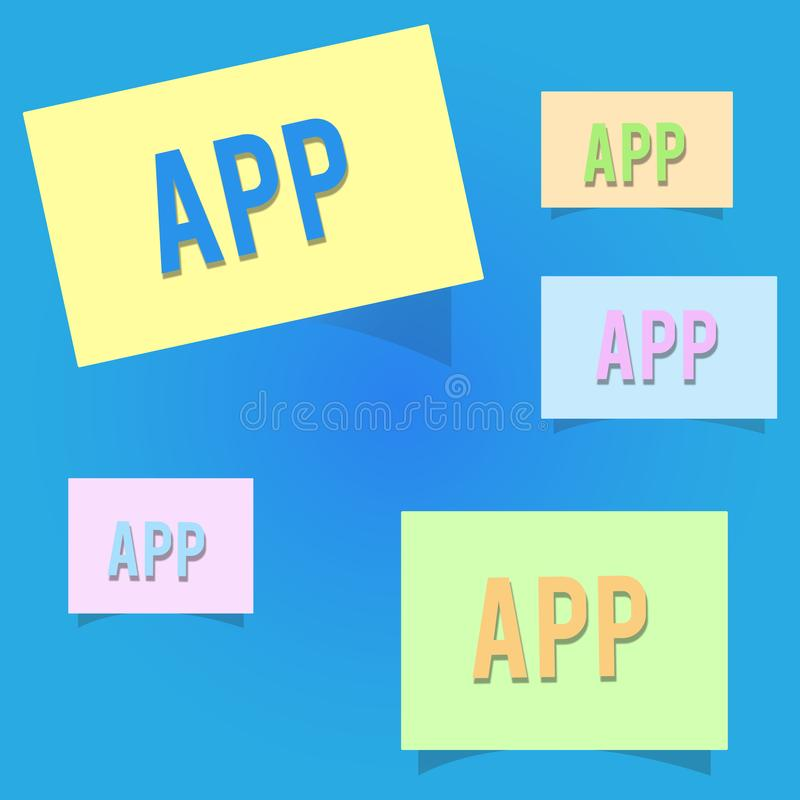 Conceptual hand writing showing App. Business photo showcasing Computer program Download software by a user to a mobile. Device royalty free illustration