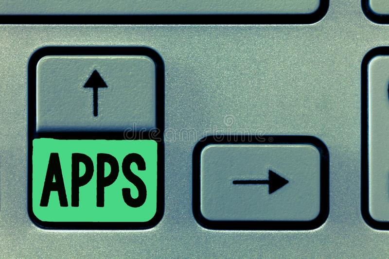 Conceptual hand writing showing Apps. Business photo text An application especially as downloaded by a user to a mobile. Device royalty free stock photos