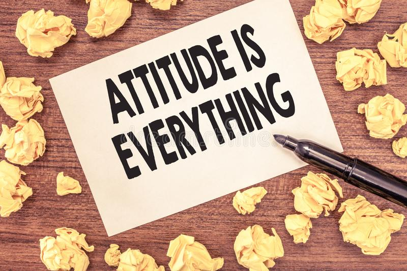 Conceptual hand writing showing Attitude Is Everything. Business photo showcasing Positive Outlook is the Guide to a. Good Life royalty free stock photography