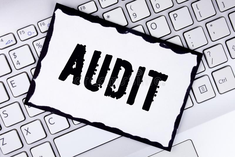 Conceptual hand writing showing Audit. Business photo showcasing Local company auditors perform their financial investigation annu. Ally written White Sticky royalty free stock photography