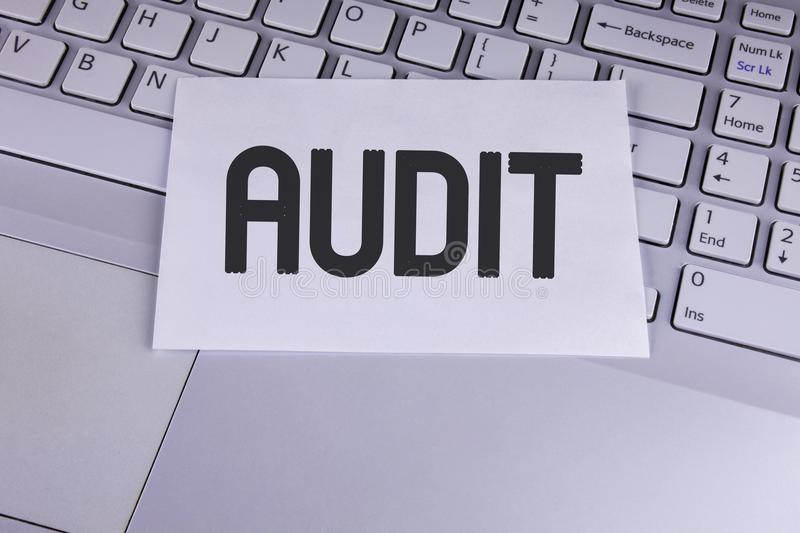 Conceptual hand writing showing Audit. Business photo showcasing Local company auditors perform their financial investigation annu. Ally written White Sticky royalty free stock images