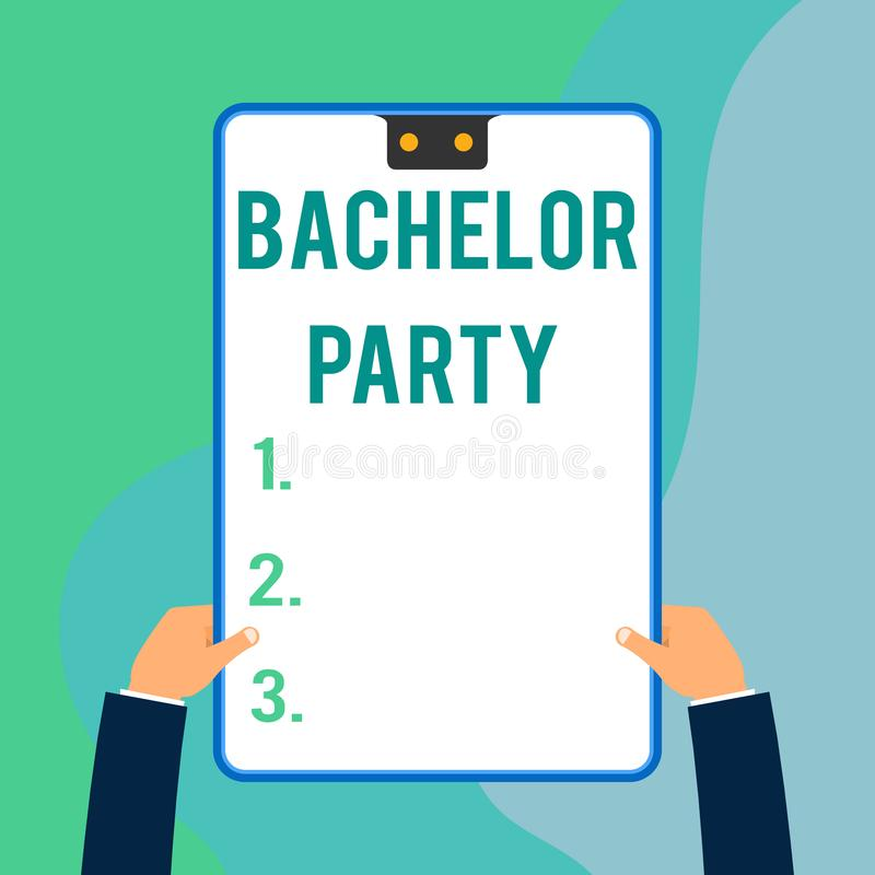Conceptual hand writing showing Bachelor Party. Business photo text Party given for a analysis who is about to get. Conceptual hand writing showing Bachelor stock illustration