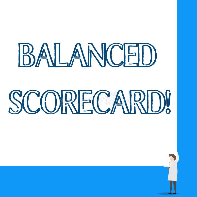 Conceptual hand writing showing Balanced Scorecard. Business photo showcasing a perforanalysisce metric used in. Conceptual hand writing showing Balanced vector illustration