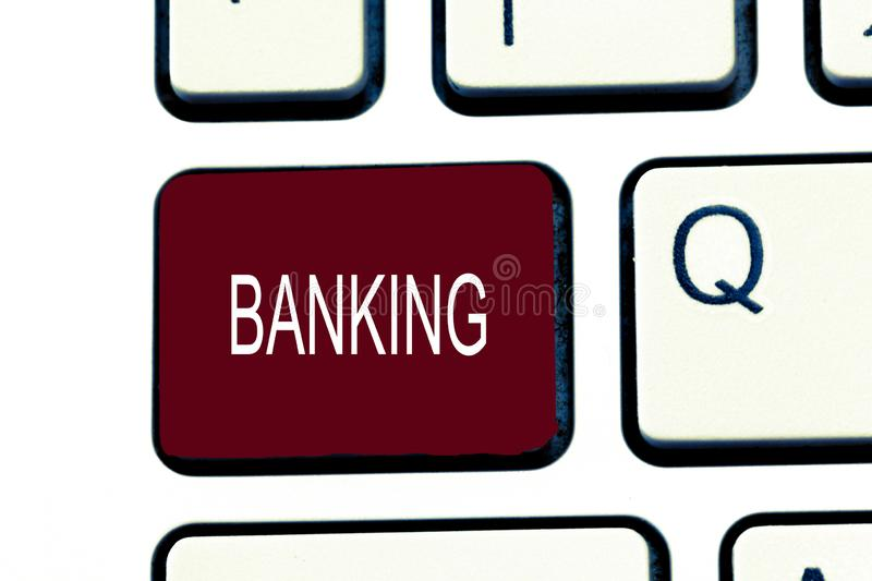 Conceptual hand writing showing Banking. Business photo showcasing Business conducted or services offered by bank Finance related.  stock photo