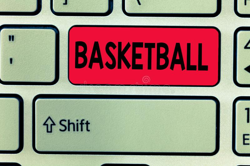 Conceptual hand writing showing Basketball. Business photo text Sport Indoors court game Competition throw ball to open. Net stock image