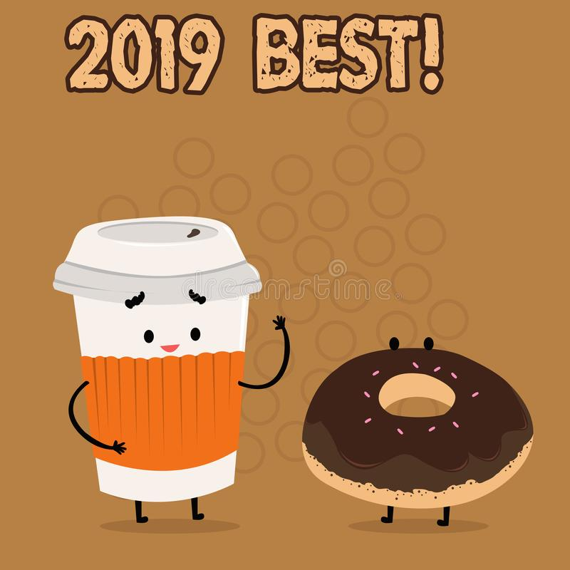 Conceptual hand writing showing 2019 Best. Business photo showcasing that which most excellent outstanding or desirable. Conceptual hand writing showing 2019 royalty free illustration