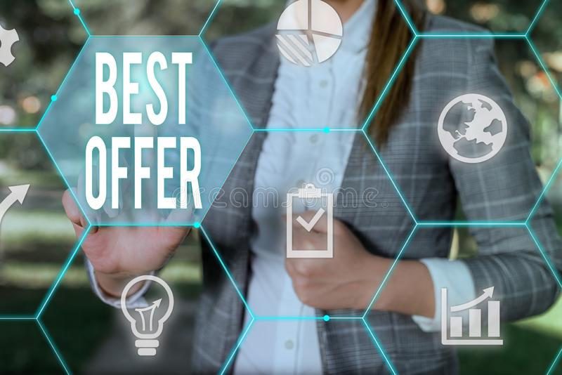 Conceptual hand writing showing Best Offer. Business photo text To convince someone by rendering all the greatness you. Conceptual hand writing showing Best royalty free stock photography
