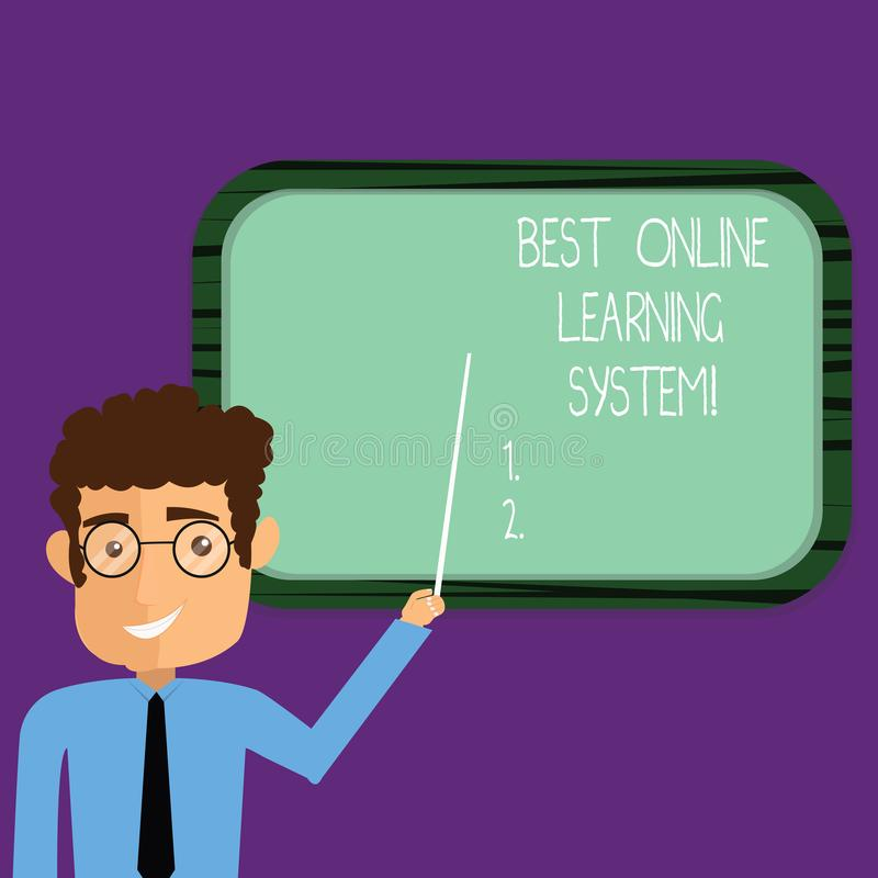 Conceptual hand writing showing Best Online Learning System. Business photo showcasing Top high quality elearning techniques Man. Holding Stick Pointing to Wall royalty free stock images