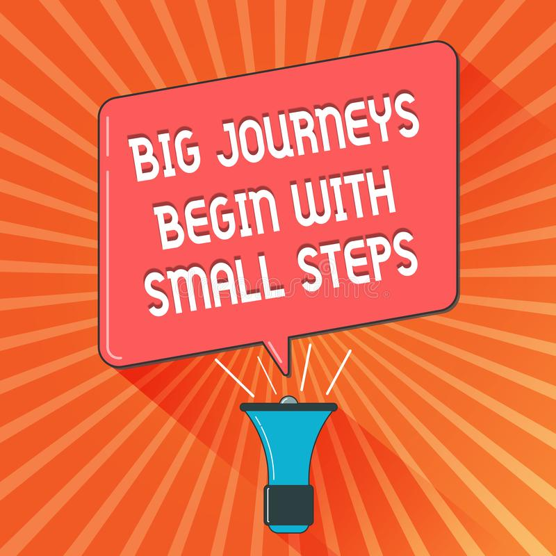 Conceptual hand writing showing Big Journeys Begin With Small Steps. Business photo showcasing Start up a new business. Venture vector illustration
