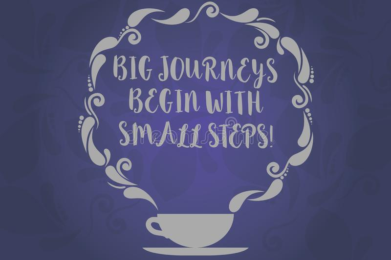 Conceptual hand writing showing Big Journeys Begin With Small Steps. Business photo text One step at a time to reach. Your goals Cup and Saucer with Paisley stock illustration