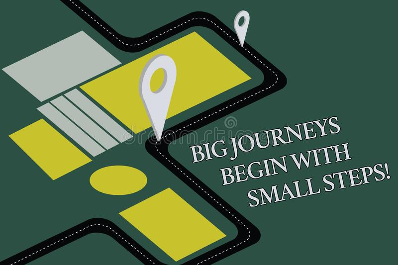 Conceptual hand writing showing Big Journeys Begin With Small Steps. Business photo text One step at a time to reach your goals. Road Map Navigation Marker 3D royalty free illustration