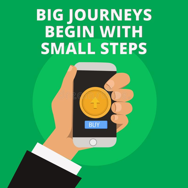 Conceptual hand writing showing Big Journeys Begin With Small Steps. Business photo text Start up a new business venture.  royalty free illustration