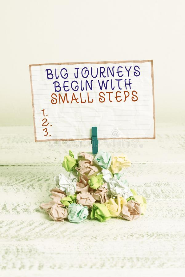 Conceptual hand writing showing Big Journeys Begin With Small Steps. Business photo text One step at a time to reach. Conceptual hand writing showing Big stock photo