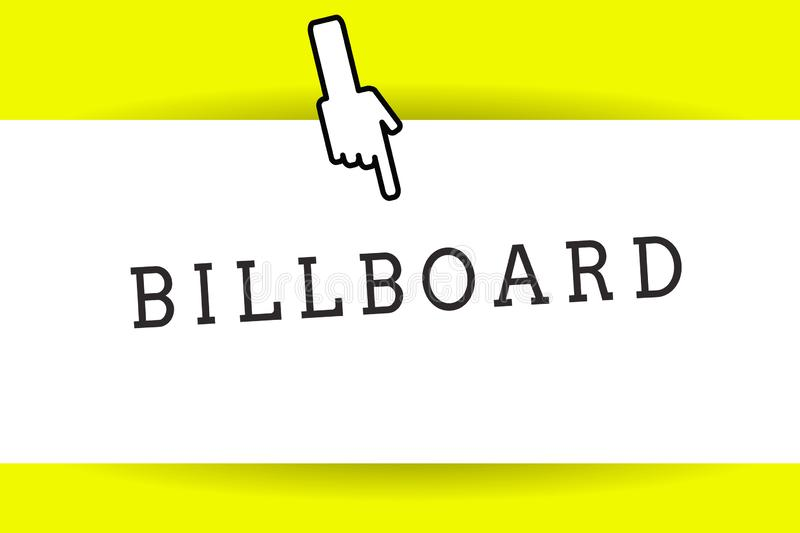 Conceptual hand writing showing Billboard. Business photo showcasing large outdoor board for displaying advertisements royalty free illustration