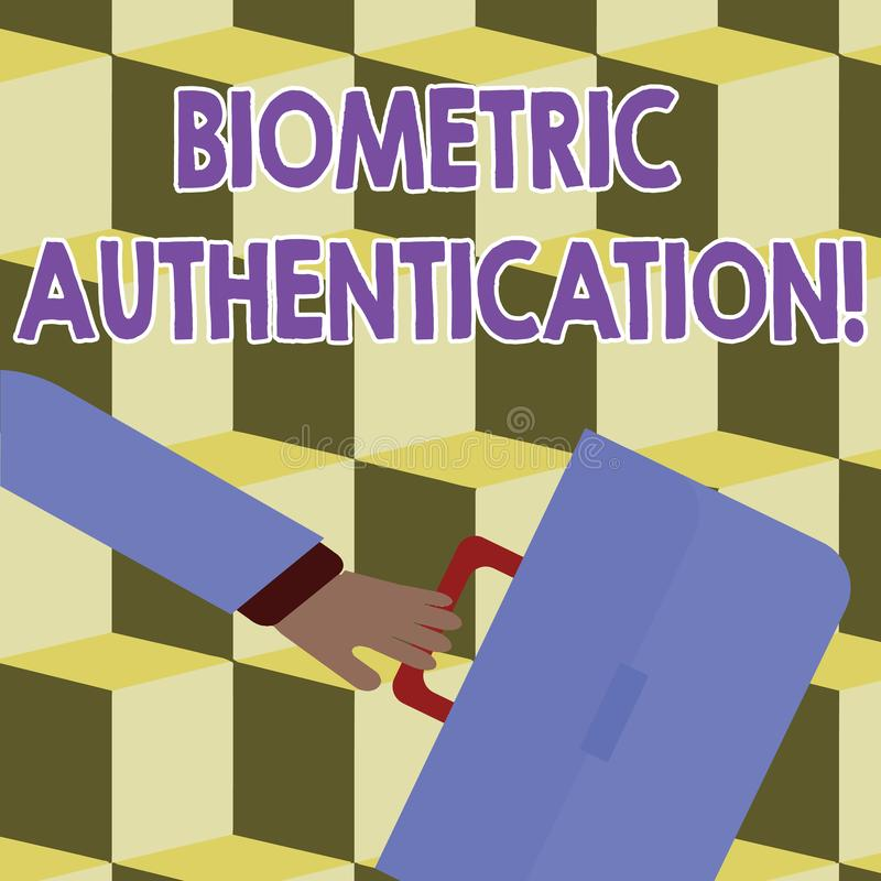 Conceptual hand writing showing Biometric Authentication. Business photo showcasing identity verification involves. Conceptual hand writing showing Biometric stock illustration