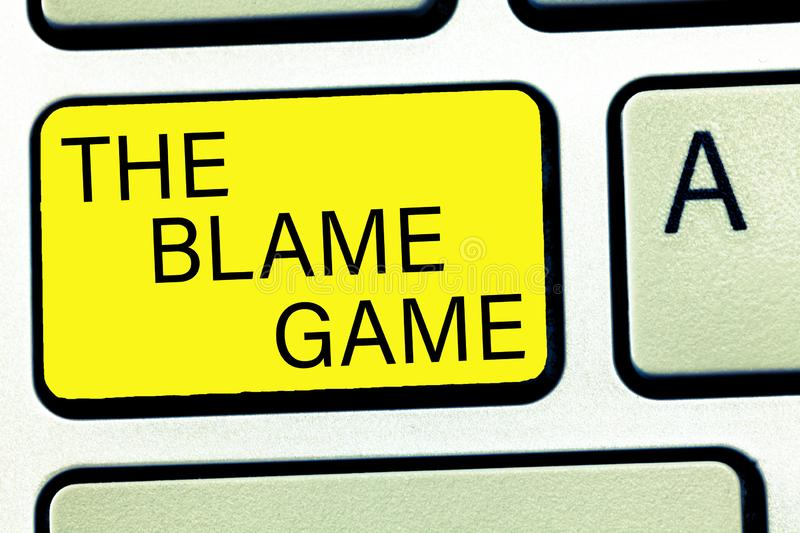 Conceptual hand writing showing The Blame Game. Business photo text A situation when people attempt to blame one another.  royalty free stock image