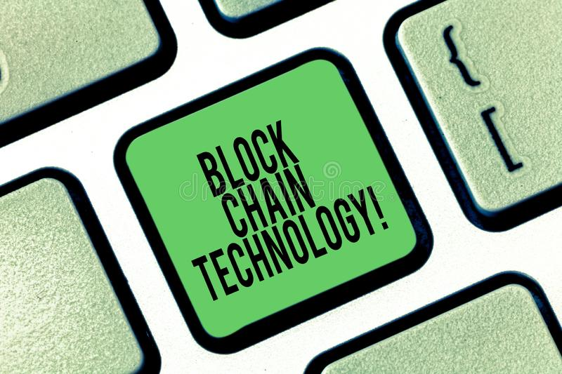 Conceptual hand writing showing Block Chain Technology. Business photo showcasing Digital ledger stored in a distributed. Network Keyboard key Intention to royalty free stock image