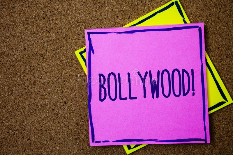 Conceptual hand writing showing Bollywood Motivational Call. Business photo text Hollywood Movie Film Entertainment Cinema Wicker. Background message stock images