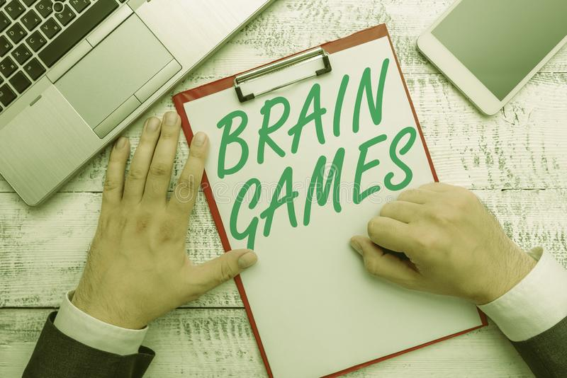Conceptual hand writing showing Brain Games. Business photo text psychological tactic to analysisipulate or intimidate. Conceptual hand writing showing Brain stock photos