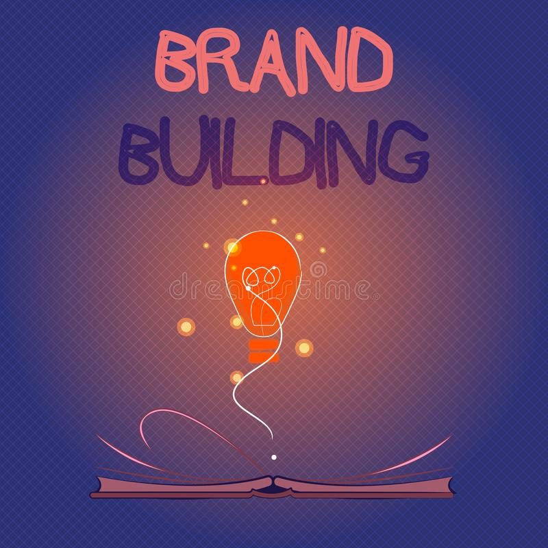 Conceptual hand writing showing Brand Building. Business photo showcasing Generating awareness Establishing and promoting company.  royalty free illustration