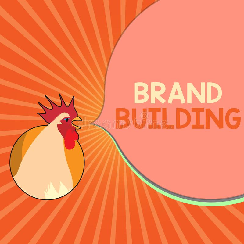 Conceptual hand writing showing Brand Building. Business photo showcasing Generating awareness Establishing and promoting company.  stock illustration