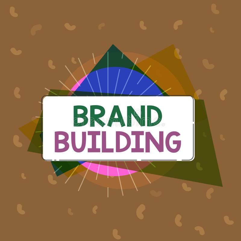 Conceptual hand writing showing Brand Building. Business photo text Generating awareness Establishing and promoting company.  stock illustration
