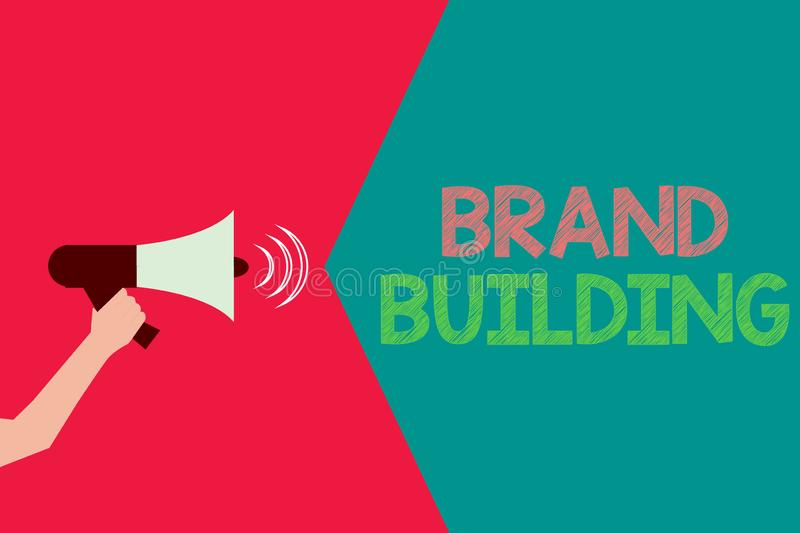 Conceptual hand writing showing Brand Building. Business photo text Generating awareness Establishing and promoting company.  vector illustration