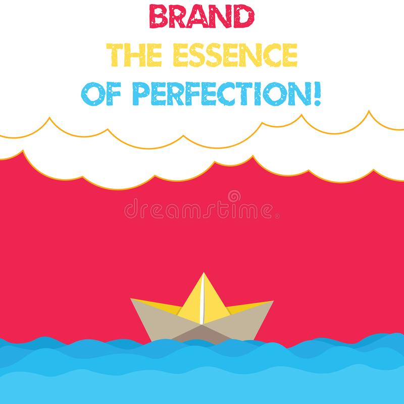 Conceptual hand writing showing Brand The Essence Of Perfection. Business photo text Certificate patent excellence good vector illustration