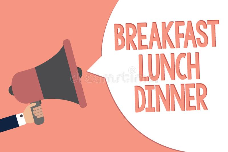Conceptual hand writing showing Breakfast Lunch Dinner. Business photo text eating your meals at different period of day Recall re. Member text social notice stock illustration