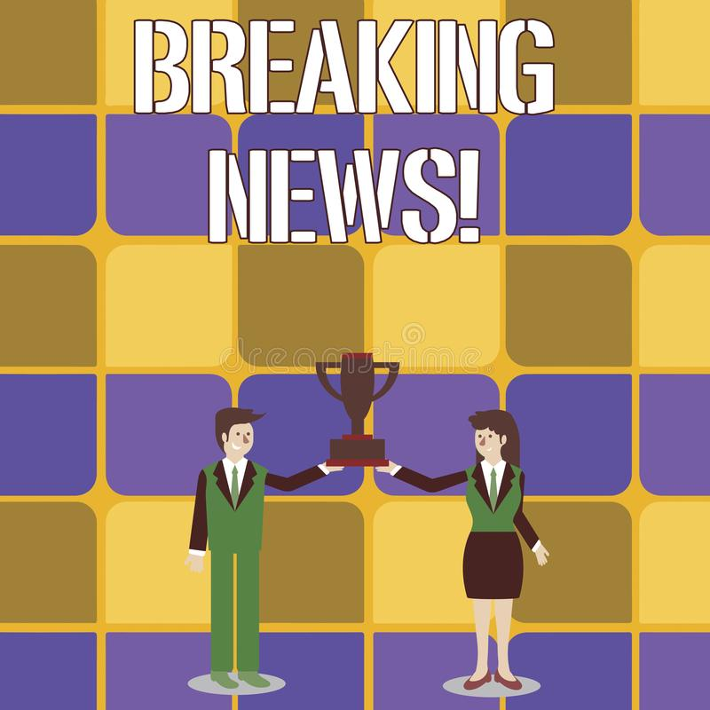 Conceptual hand writing showing Breaking News. Business photo text Newly received info about an event and currently. Conceptual hand writing showing Breaking stock illustration