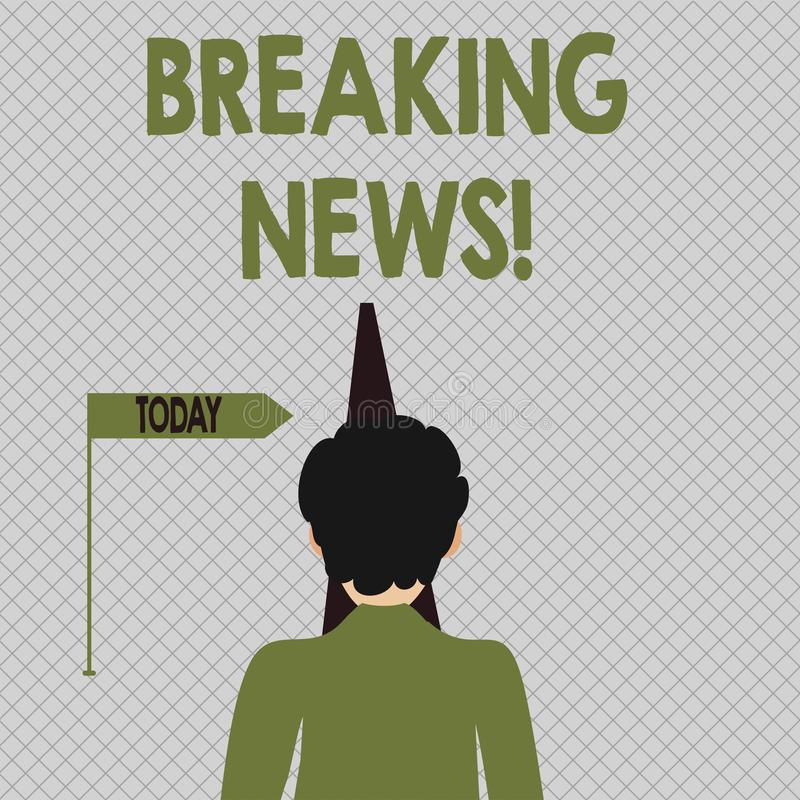 Conceptual hand writing showing Breaking News. Business photo text Newly received info about an event and currently. Conceptual hand writing showing Breaking vector illustration