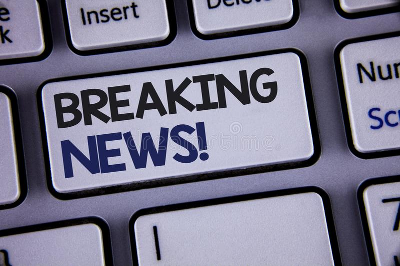 Conceptual hand writing showing Breaking News Motivational Call. Business photo showcasing Updated press report Latest information. Text two words backspace royalty free stock image