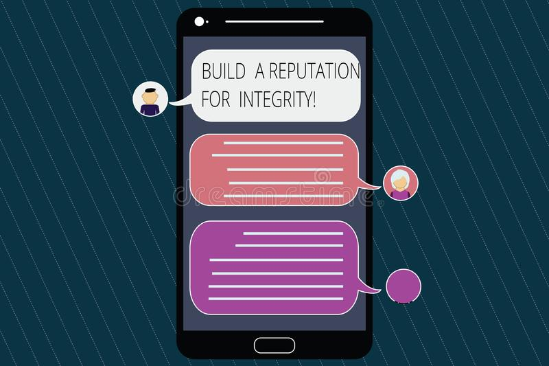 Conceptual hand writing showing Build A Reputation For Integrity. Business photo showcasing Obtain good feedback based on ethics. Mobile Messenger Screen with royalty free illustration